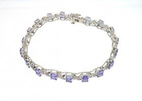 APP: 5k 4CT Tanzanite Diamond Overlaid Silver Bracelet