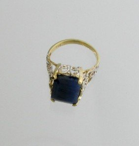 APP: 5.2k 14 Kt. Gold, 10.75CT Blue Sapphire Ring