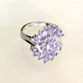 APP: 3k 1CT Tanzanite & Plat Overlaid Sterl Silver Ring