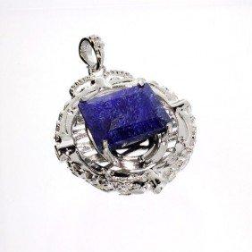 APP: 6k 36.43CT Blue Sapphire & Sterling Silver Pendant