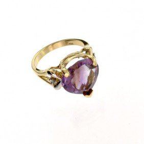 APP: 2k 14kt Yellow & White Gold, 7.50CT Amethyst Ring