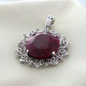 APP: 4.3k 31.75CT Ruby & Sterling Silver Pendant