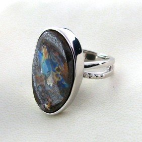 APP: 9.7k 24.69CT Boulder Opal & Sterling Silver Ring