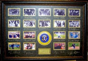 Presidental First Pitch Taft-Obama Engraved Signatures