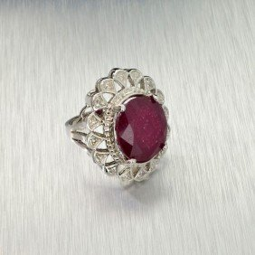 APP: 12k 14 Kt. White Gold, 10.22CT Ruby & Diamond Ring