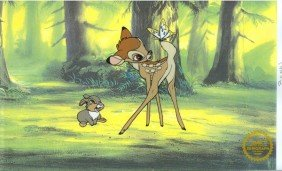 Disney Cel, Bambi At Forest & Butterfly W/Certificate