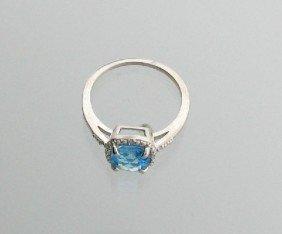 2CT Topaz & Platinum Overlaid Sterl Silver Ring