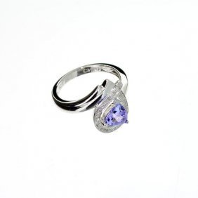 APP: 2k 2CT Tanzanite & Diamond Plat Sterl Silver Ring