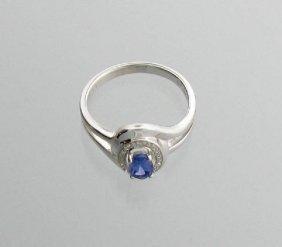 APP: 1k 0CT Tanzanite & Diamond Plat Sterl Silver Ring