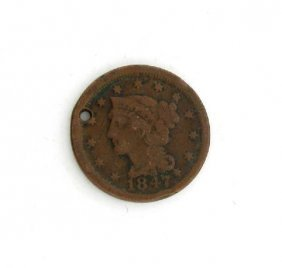 1847 Liberty Head Type One Cent Coin - Investment