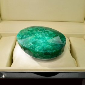 APP: 45.8k 1,308.70CT Oval Cut Emerald Gemstone
