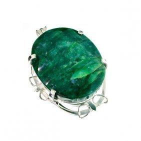 APP: 19k Sebastian 305CT Oval Emerald Silver Pendant