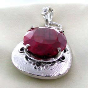 APP: 7.9k 48.46CT Ruby & Sterling Silver Pendant