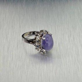 APP: 8k 14kt White Gold6CT Tanzanite & Diamond Ring