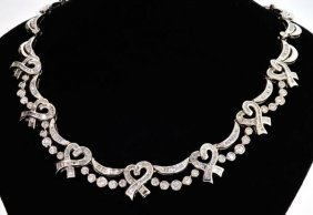 APP: 51.6k 18 Kt. White Gold, 6.68CT Diamond Necklace
