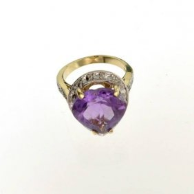 APP: 3k 14kt Yellow & White Gold, 8.74CT Amethyst Ring