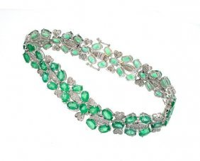 APP: 32k 14kt Gold 19CT Emerald & 1CT Diamond Bracelet