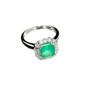 APP: 17k 18kt White Gold, 1CT Emerald  & Diamond Ring