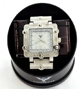 Diamond King Mens Sq.  Stainless Steel & Diamond Watch