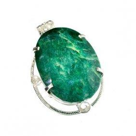 APP: 16k Sebastian 278CT Oval Emerald Silver Pendant