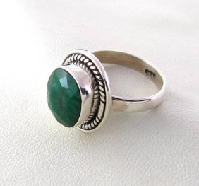 APP: 1.2k 5.18CT Green Sapphire & Sterling Silver Ring
