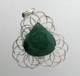 APP: 8.7k 88.81CT Emerald & Sterling Silver Pendant