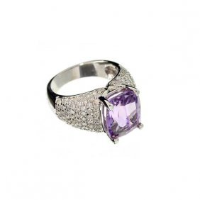 APP: 14k 14kt White Gold, 5CT Amethyst & Diamond Ring