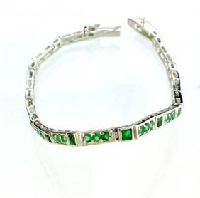 Custom Made Silver Fancy Cubic Zirconium Bracelet