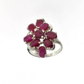 APP: 2.8k 4.03CT Oval Cut Ruby Sterling Silver Ring