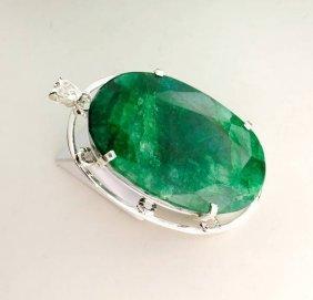 APP: 19k Sebastian 434CT Emerald & Sterl Silver Pendant