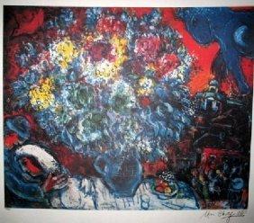 MARC CHAGALL Bouquet De Fleurs Et Amants Print, Ltd Edn