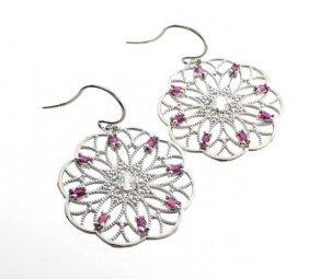 APP: 2k 2CT  Round Cut Topaz Ruby & Silver Earrings