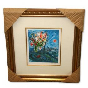 Chagall 'La Dormeuse Aux Fleurs' Framed Giclee-Ltd Edn