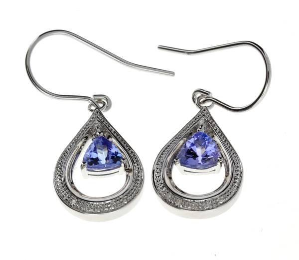 APP 1k Tanzanite & Diamond Sterl Silver Earrings Lot 59