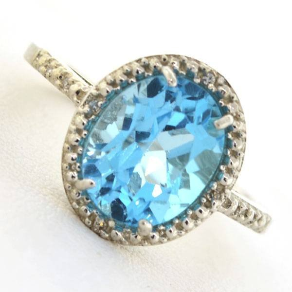 APP 1k 3CT Topaz & Diamond Over Sterl Silver Ring Lot 147