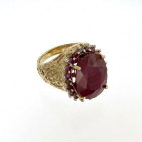 APP: 20k 14kt Yellow & White Gold, Ruby & Diamond Ring