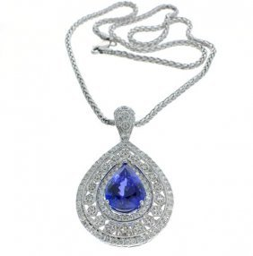 APP: 42k *White Gold, Tanzanite & Diamond Pendant