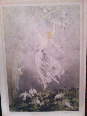 Louis Icart Signed ''Rainbow'' Etching W/Certificate