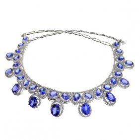 APP: 109k *14kt White Gold Tanzanite & Diamond Necklace