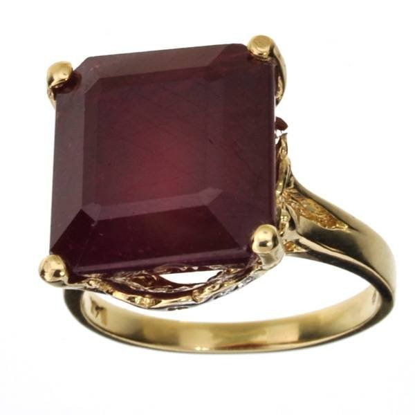 APP 15k 14 kt Gold 13 CT Square Emerald Cut Ruby Ring Lot 290
