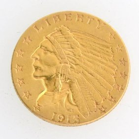 1915 $2.5 U.S Indian Head Type Gold Coin - Investment