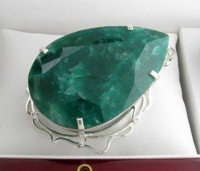 APP: 18k Sebastian 569CT Pear Emerald & Silver Pendant