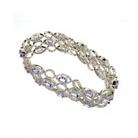 APP: 56k 14kt White Gold, Tanzanite & Diamond Bracelet