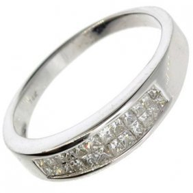 APP: 4k 14kt White Gold, 0 CT Princess Cut Diamond Ring