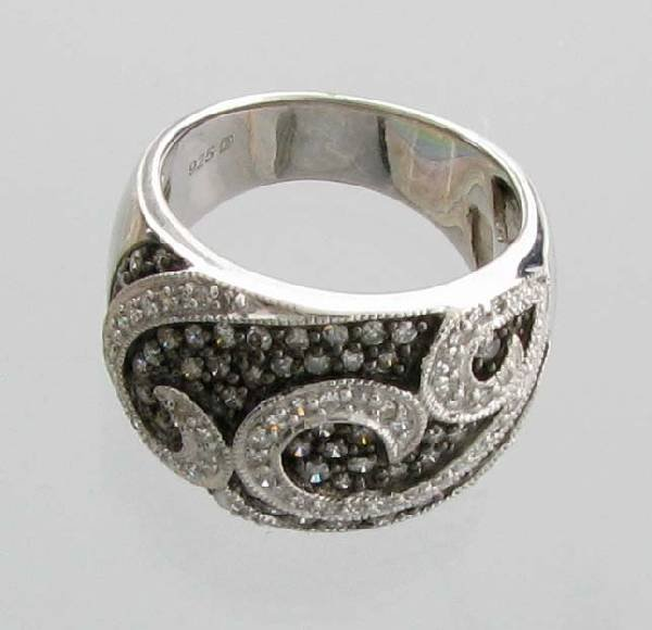 APP 3k CT Round Cut Diamond Plat Sterl Silver Ring Lot 1673