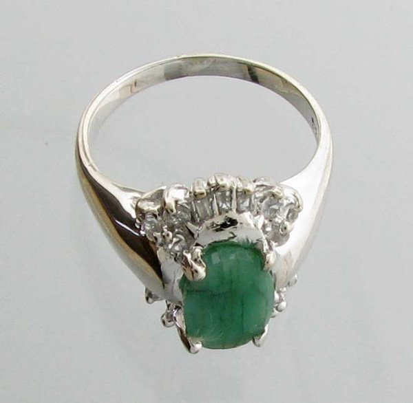 APP 3k 1CT Emerald & Diamond Sterl Silver Ring Lot 3061
