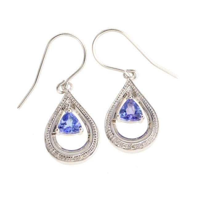 APP 1k Tanzanite & Diamond Sterl Silver Earrings Lot 101