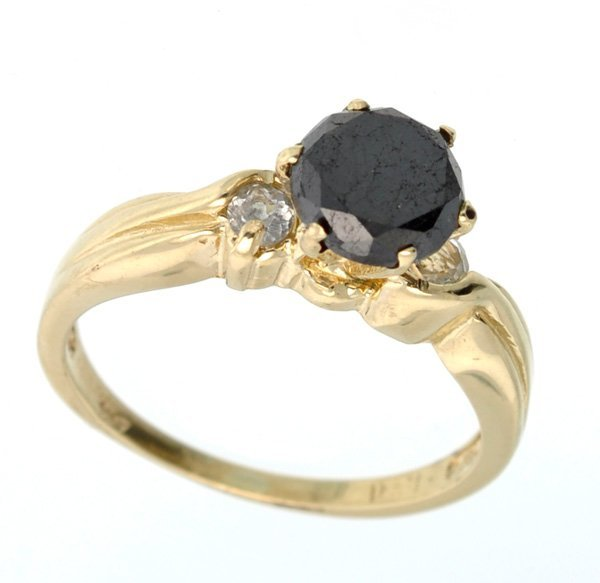 APP 3k 14 kt Gold 1CT Black Diamond & Topaz Ring Lot 555