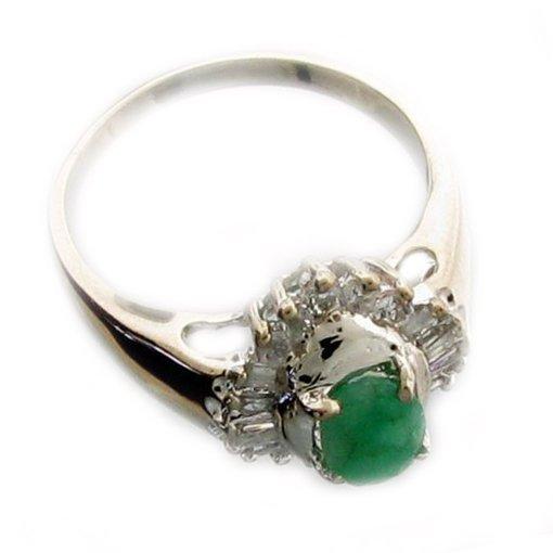 APP 2k Emerald & Diamond Sterl Silver Ring Lot 487