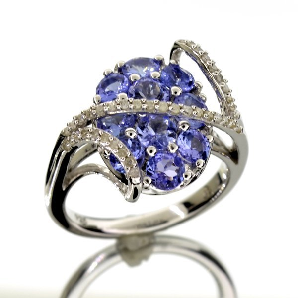 APP 3k 1CT Round Cut Tanzanite & Diamond Silver Ring